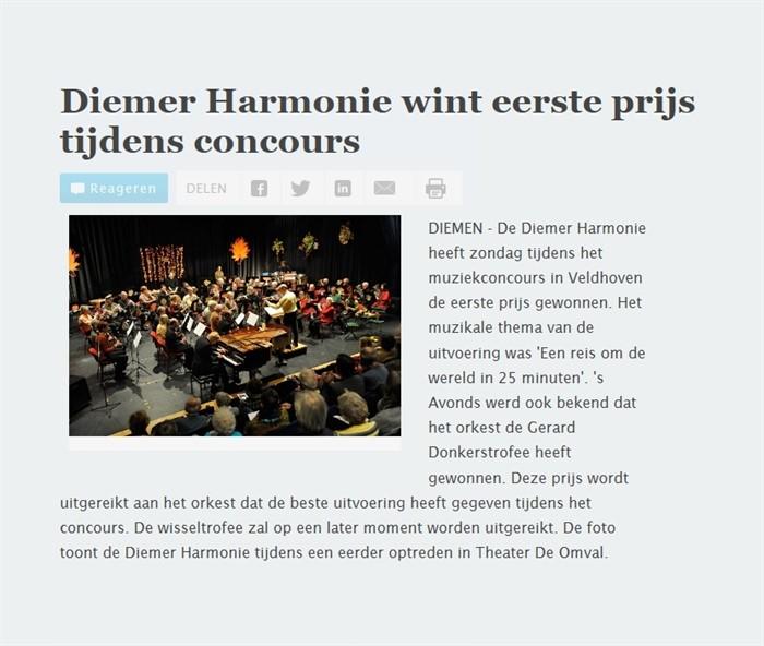 Diemer Harmonie wint eerste prijs op concours